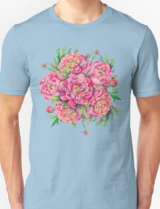 bouquet of peony flowers with decoration of leaves and branches 2 T-Shirt