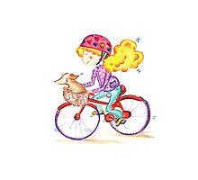 Girl Girl on bike with dog by ilariav