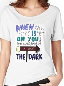 One Direction Through The Dark Lyrics in colour Women's Relaxed Fit T-Shirt