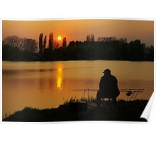 Angler at sunset Poster