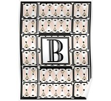 1920s Pink Champagne Gatsby Monogram letter B Poster