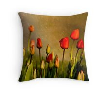 Spring Rain Over The Red Tulips Throw Pillow