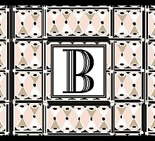 1920s Pink Champagne Gatsby Monogram letter B by CecelyBloom