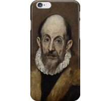 This painting, done between 1595 and 1600, is presumably a self-portrait of the prominent Renaissance painter El Greco iPhone Case/Skin