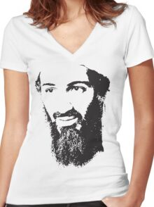 Osama Bin Laden, Silhouette Women's Fitted V-Neck T-Shirt
