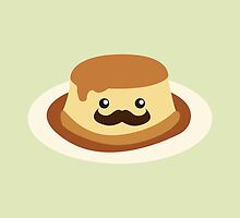 Cute and funny Mustachioed Flan by Eggtooth
