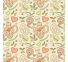 Tea party vector seamless pattern Photographic Print