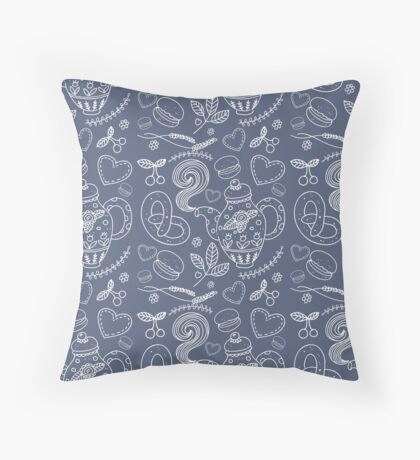 Tea party vector seamless pattern Throw Pillow