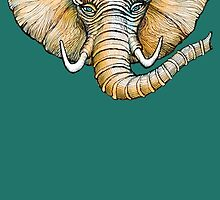Floating Elephant Head - colorized by dotsofpaint