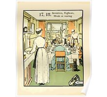 The Buckle My Shoe Picture Book by Walter Crane 1910 28 - Seventeen Eighteen Maids in Waiting Poster