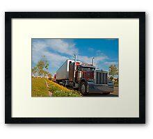 Red commercial truck Framed Print