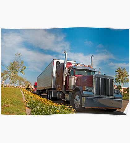 Red commercial truck Poster