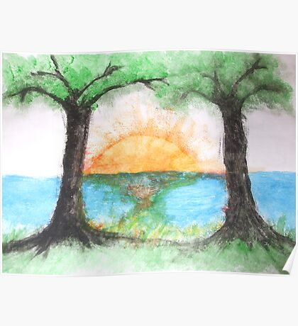 twin trees sunset Poster