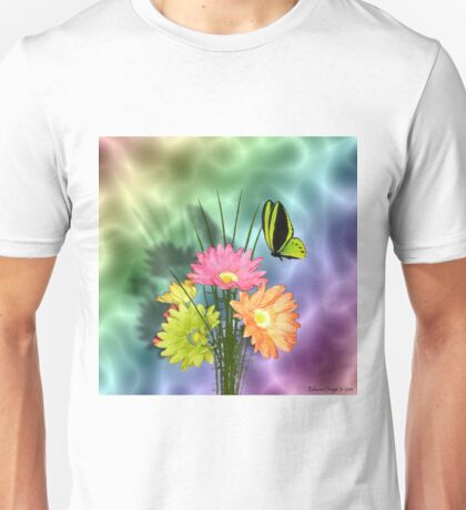 Painted Daisies and Butterlfies Unisex T-Shirt
