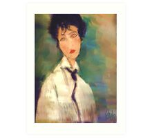 Woman with black Cravat after Modigliani Art Print