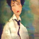 Woman with black Cravat after Modigliani by bev langby
