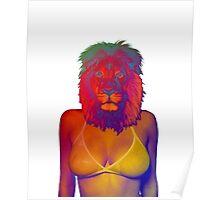 Girl ocean bikini summer sexy hot fresh lion psychedelic version 4 Poster
