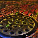 Manhole Cover on Red Brick Road by sailorsedge