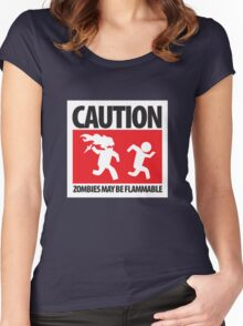 Caution: Zombies May Be Flammable Women's Fitted Scoop T-Shirt