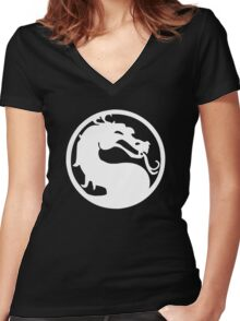 Mortal Dragon (White) Women's Fitted V-Neck T-Shirt