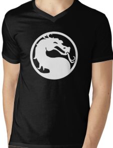 Mortal Dragon (White) Mens V-Neck T-Shirt