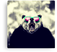 Funny Cool Angry Panda with Sunglasses Canvas Print