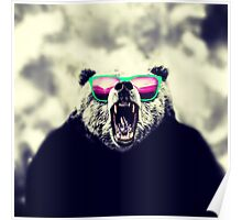 Funny Cool Angry Panda with Sunglasses Poster