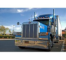 blue commercial truck Photographic Print