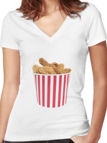 Bucket Of Fried Happiness Women's Fitted V-Neck T-Shirt