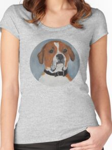 Boxer/Dog/Pet/T-Shirt Women's Fitted Scoop T-Shirt