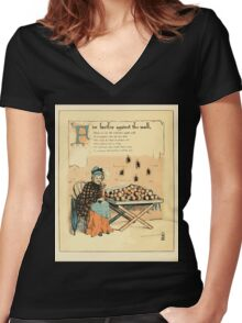 The Buckle My Shoe Picture Book by Walter Crane 1910 46 - Five Beetles Against the Wall Women's Fitted V-Neck T-Shirt