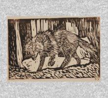 Dark Wolf Print One Piece - Long Sleeve