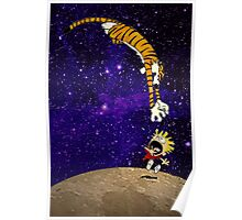 Calvin and Hobbes On The Moon Poster
