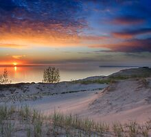 Sunset on Lake Michigan from Sleeping Bear Dunes National Lakeshore, Michigan by DArthurBrown