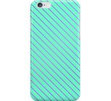 Bright Purple Pinstripe on Neon Aqua Teal  iPhone Case/Skin
