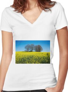 Rape Seed Women's Fitted V-Neck T-Shirt