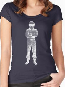 The Stig Pop Art Full Body WHITE Women's Fitted Scoop T-Shirt