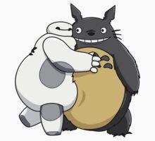 Baymax and Totoro Hug One Piece - Short Sleeve