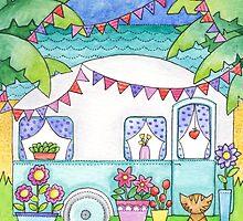 Cat Art Caravan Painting by inwhitstable