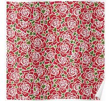 Romantic Red Roses Pattern Poster