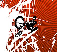 BMX Pop Art Red by JayBakkerArt