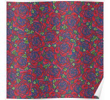 Romantic Red Roses Pattern on Blue Poster