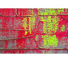 Abstract Art - Textures of Old Color in Red and Yellow Photographic Print