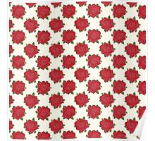 Romantic Red Roses Pattern on Ivory Poster
