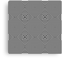 Flickering geometric optical illusion pattern with black and white stripes Canvas Print