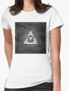 Pyramid with eye Womens Fitted T-Shirt