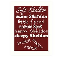 Soft Sheldon, Warm Sheldon (white) Art Print
