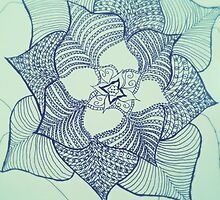 Large flower doodle in black fineliner by AnnestiMeets