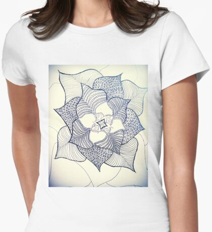 For Simone. Doodle fineliner flower  Womens Fitted T-Shirt