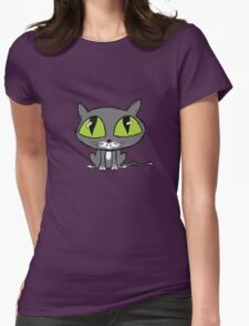 Cute Big Eyed Cat Womens Fitted T-Shirt